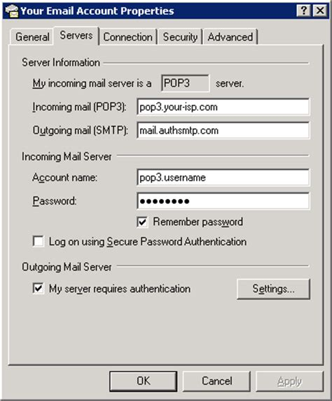 Smtp Gmail 25 by Outlook Express 6 Authenticated Smtp Server Default Smtp