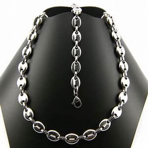 parure collier bracelet acier maille grain de cafe homme With bijoux acier
