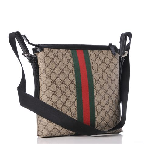 gucci gg supreme monogram web messenger bag black