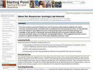 Ideas For Resources  Geology Lab Manual Lesson Plan For