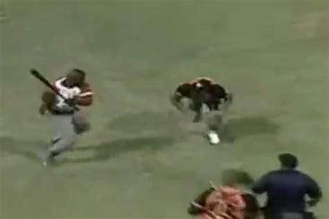 cuban player swings bat  pitchers head  crazy brawl