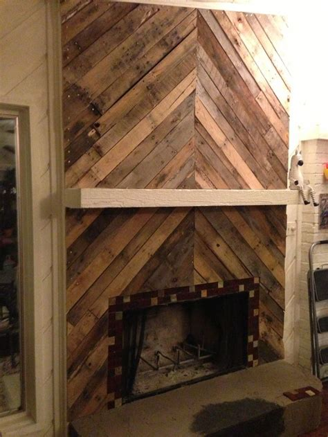 faux wood wallpaper  fireplace  wood mantel