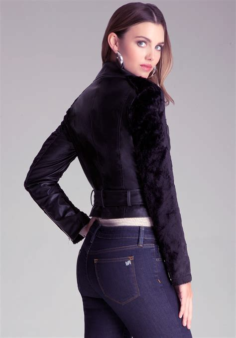 lyst bebe leslie faux leather jacket  black