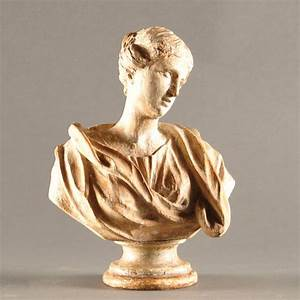Carved, Wooden, Bust, Of, A, Lady