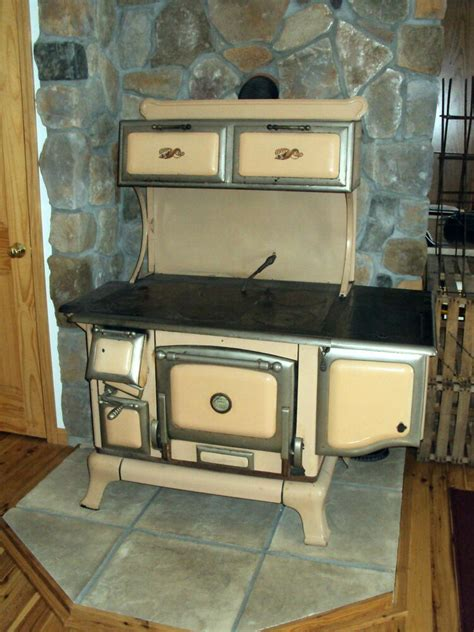 antique copper clad wood burning cook stove complete