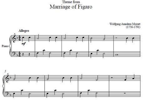 marriage of figaro piano sheet music marriage of figaro