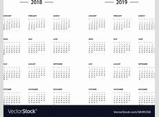 Calendar 2018 2019 year template Royalty Free Vector Image