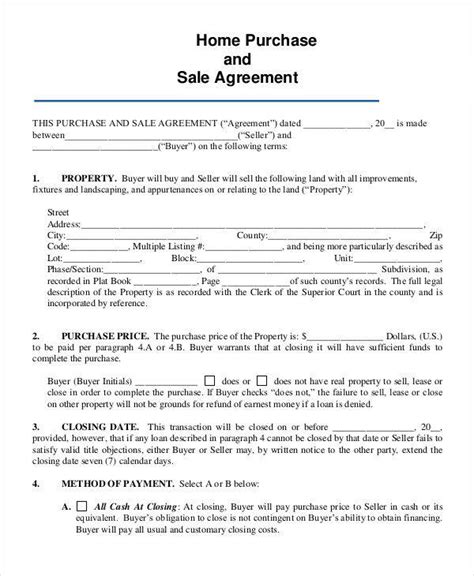 Home Sale Contract Template by 8 Home Sales Contracts Sles Templates Sle Templates