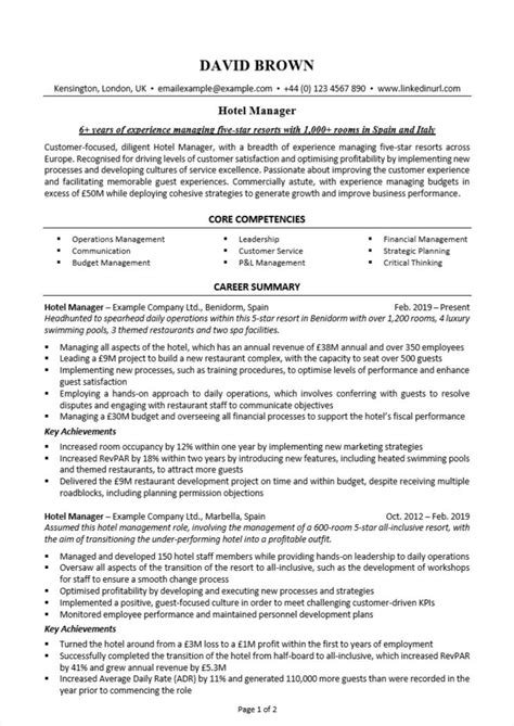 Resume Hotel Manager - Resume Sample