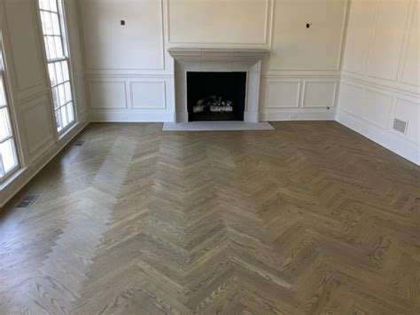 Herringbone Wood Floors with Custom Stain Color   Kashian