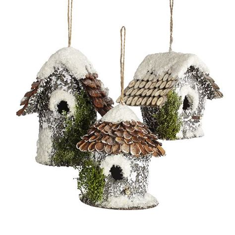 snowy birdhouse ornaments set    holiday diy