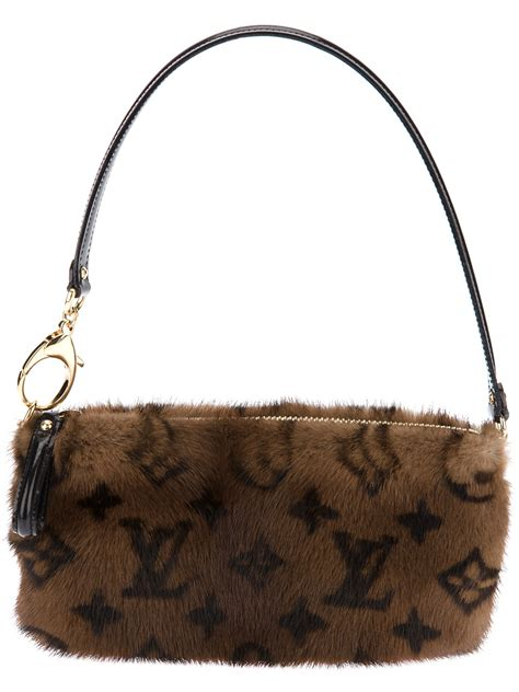 lyst louis vuitton mink fur shoulder bag  brown