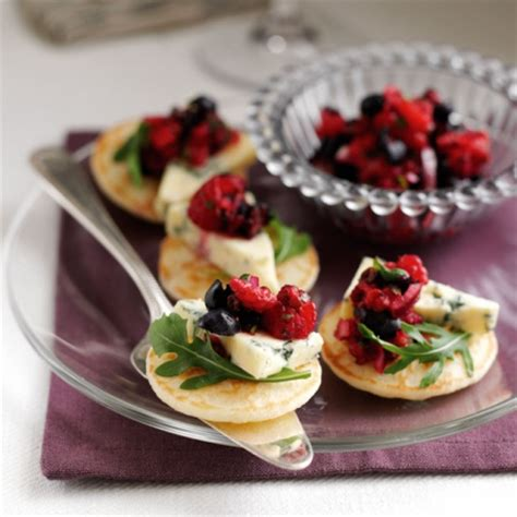 berry canapes blueberry and stilton blinis recipe