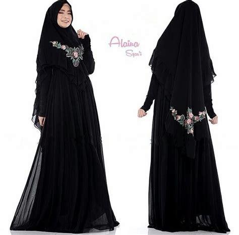 tunik gamis cantik gamis syari terbaru 2018 alaina hitam baju gamis terbaru