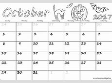October 2017 free calendars for kids Free Printable PDF