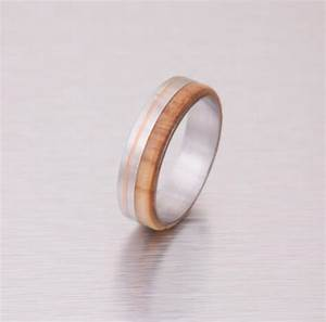Wood wedding ring titanium wedding band men39s engagement for Mens copper wedding rings