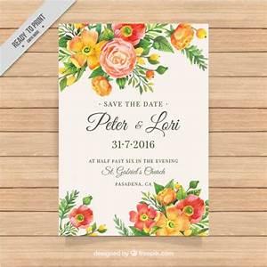 elegant wedding invitation with watercolor floral details With elegant floral wedding invitations vector