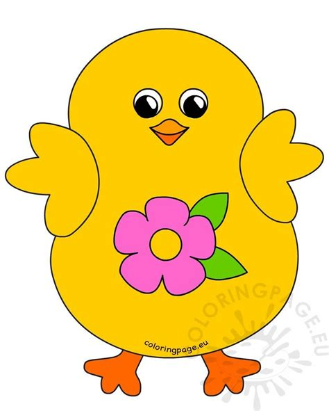 happy easter chick flower clipart coloring page