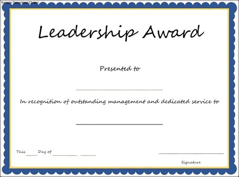 scholarship award certificate templates interesting leadership award template with blue frame