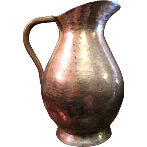 hammered copper l portuguese hammered copper pitcher from