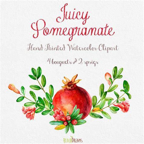 Pomegranate Watercolor Bouquets Hand Drawn Clip Art Red