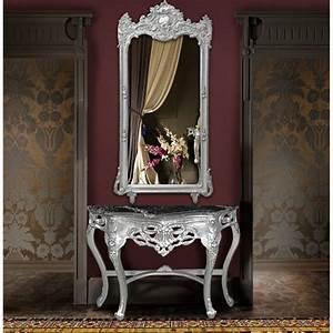 Grand Miroir Rectangulaire : grand miroir baroque rectangulaire argent ~ Preciouscoupons.com Idées de Décoration