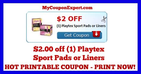 check this coupon out printable coupon 2 00 1 playtex sport pads or liners
