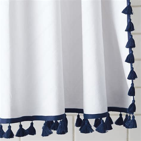 tassel shower curtain navy serena furnishings