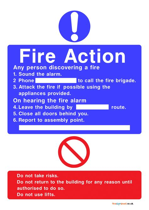 fire action signs poster template