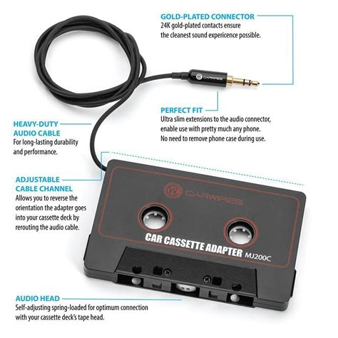 Diagram Of Audio Cassette by Carwires Mj200c Car Audio Cassette Adapter