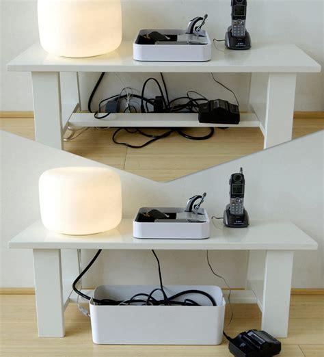 enceintes pour ordinateur de bureau boîte cablebox cache câbles l 40 cm blanc bluelounge