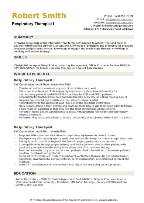 respiratory therapist resume samples qwikresume