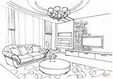 Coloring Living Pages Ornament Colouring Printable Dining Interior Drawing Sketch Paper sketch template