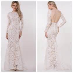 attractive white lace long sleeves maxi dress