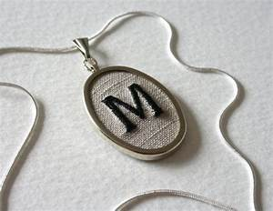 Letter m personalized jewelry necklace hand embroidered for Letter m jewelry