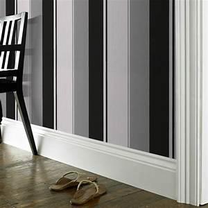 Papier Peint Rayé Noir Et Blanc : papier peint noir 40 id es pour un design mural ~ Dailycaller-alerts.com Idées de Décoration