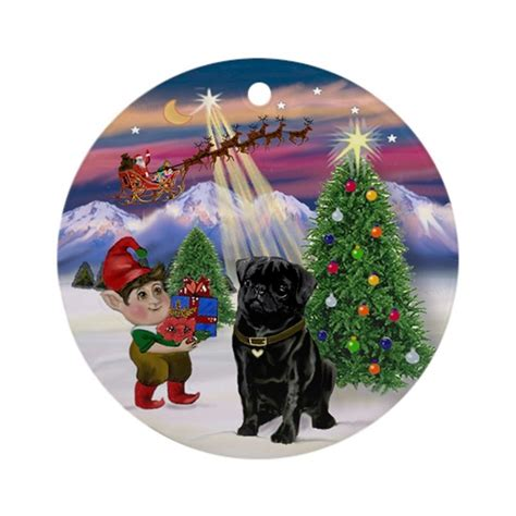 pug christmas tree black pug tree ornament by prettyornaments