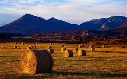 Harvest Fields Autumn Mountains Landscapes Season Nature