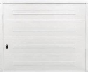 Porte de garage sectionnelle blanche en acier simple for Porte de garage sectionnelle lapeyre