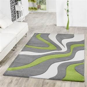 Wohnzimmer Teppich Grau : teppich grau gr n wei wohnzimmer teppiche modern mit konturenschnitt moderne teppiche ~ Indierocktalk.com Haus und Dekorationen