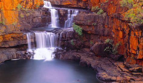 Waterfall Nature Pond Rock Shrubs Australia Landscape Wallpapers Hd Desktop And Mobile