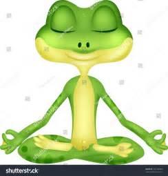 Cartoon Frog Doing Yoga