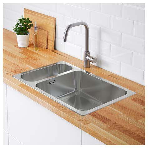 ikea stainless steel sink hillesjön inset sink 1 1 2 bowl stainless steel 75x46 cm