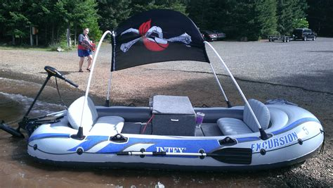 Custom Inflatable Fishing Boat by Custom Built Out Motor Stereo Solar On A Intex