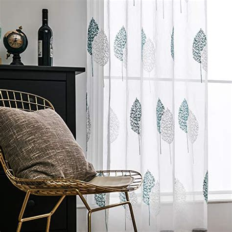 panels leaves embroidery sheer curtains grommet window