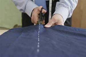 cutting, fabric, straight, with, scissors