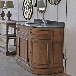 Meuble Lavabo Salle De Bain : meuble lavabo chene arrondi ~ Teatrodelosmanantiales.com Idées de Décoration