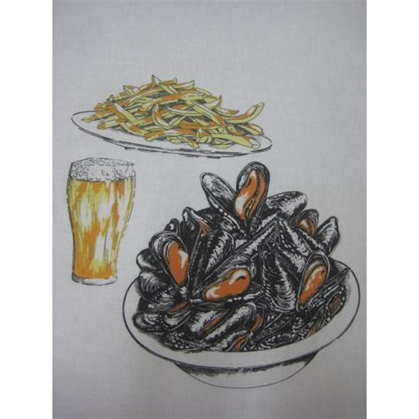 chaussure de cuisine noir bavoir moules frites bierre 100 coton 59x37 cm
