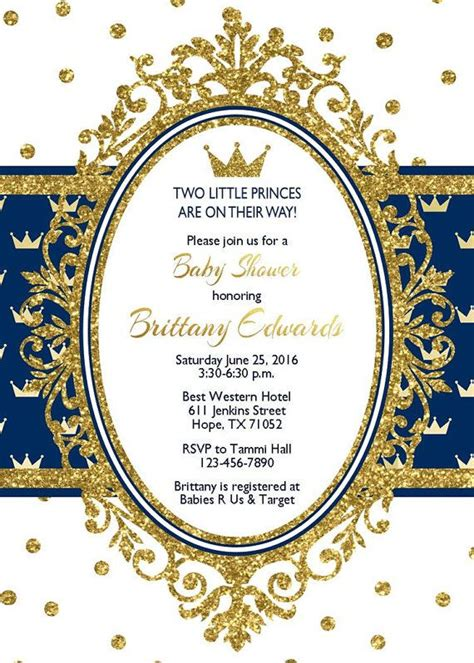 prince baby shower invitation blue boy shower silver