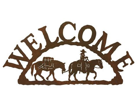 pack metal welcome sign rustic outdoor wall decor